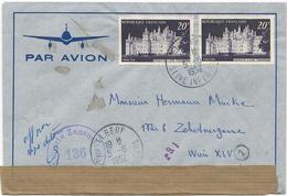 LETTRE PAR AVION 1952 POUR L'AUTRICHE AVEC 2 TIMBRES CHAMBORD ET BANDE ET CACHET DE CENSURE - Postmark Collection (Covers)