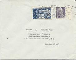 LETTRE  1951 POUR L'ALLEMAGNE AVEC 2 TIMBRES INDUSTRIE TEXTILE / GANDON ET CACHET DE THIONVILLE MOSELLE - Elsass-Lothringen