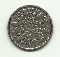 1930 - Gran Bretagna 6 Pence - 1902-1971 : Monete Post-Vittoriane