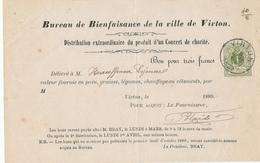 722/28 - IMPRIME Bureau De Bienfaisance TP 42 (1 C Réséda) VIRTON 1889 - Bon Pour 3 Francs En Nature. - 1869-1888 Lion Couché