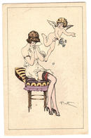 Illustrateur PINTI - FEMME Assise - SEIN NU - EROTISME - ANGE - EROTISM - ANGEL - WOMAN - Caresses D' Amour Serie N° 43 - Mujeres