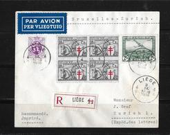 1935 BELGIEN → R-Brief Luftpost (PER VLIEGTUIG) Liege Nach Zürich  ►RAR◄ - Poste Aérienne