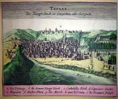 TIFLIS ARMENIE GEORGIE GRAVURE ANCIENNE 17° SIECLE VUE DE LA VILLE VERS 165014 X 11 CM - Mapas