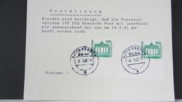 BRD-VGO: Karte Mit Bestätigung Vom PA, Daß Marken (MHB) Am Schalter Gekauft Worden Sind In Rittersgrün Knr: WZ 22 - [7] Repubblica Federale
