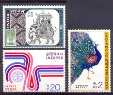 Mwe1199 FAUNA VOGELS OLIFANT EXPO INDIPEX ELEPHANTSTAMP ON STAMP PEACOCK BIRDS VÖGEL AVES OISEAUX INDIA 1973 ONG/MH - Paons
