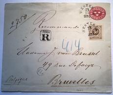 Sweden REGISTERED Postal Stationery Cover WESTERÅS 1891 > BELGIUM, Bruxelles  (Schweden Suède Belgique Lettre Brief - Schweden