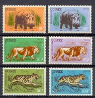 Mwe1228 FAUNA ZOOGDIEREN NIJLPAARD LEEUW PANTER KAT CAT HIPPO LION PANTHER MAMMALS WILDLIFE GUINÉE 1962 PF/MNH - Wild