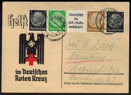 Deutsches Reich Zusammendruck Auf Karte Des Roten Kreuzes Flensburg 1940 - Se-Tenant
