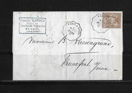 1877 FRANKREICH → Bahnpost Paris-Lyon, Brief Beaune - Frankfurt (30c Light Brown Yvert 69)  ►RAR◄ - 1876-1878 Sage (Type I)