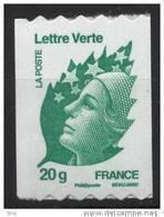 N° 608 ( 4597 )Marianne De Beaujard Verte Adhesif Roulette 2011  Faciale 20g - Frankreich