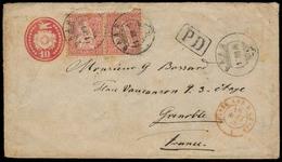 SWITZERLAND. 1876. Baar - France. 10c Stat Env + 2 Adtls / PD. - Switzerland