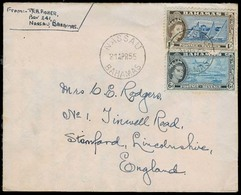 BC - Bahamas. 1955. Nassau - UK. Fkd Env 6d + 1sh. VF / With Contains. - Unclassified