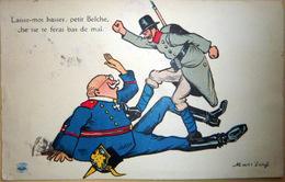 GRANDE GUERRE CARICATURE PROPAGANDE MASS'BEUF  ANTI ALLEMANDE BELGE ET ALLEMAND - War 1914-18