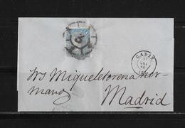 1865 SPANIEN → Brief Cadiz Nach Madrid - 1850-68 Königreich: Isabella II.