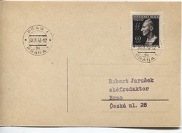 Böhmen & Mähren # 131 Einzelfrankatur Postkarte Prag 30.9.43, Reinhard Heydrich. Philatelistische, Aber Portogerechte Fe - Briefe U. Dokumente