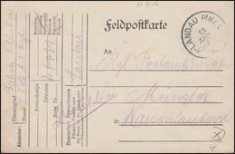 Bayern Feldpostkarte LANDAU/Pfalz 13.8.16 An Postamtsvorsteher In Kaiserslautern - Besetzungen 1914-18