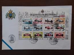 SAN MARINO - 50 Anni Di Ferrari - Foglietto F.D.C. + Spese Postali - FDC