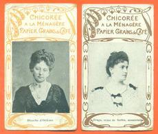 """Lot De 2 CHROMOS Chicorée à La Ménagère Chocolat Inimitable """" Blanche D'orléans Et Draga Reine De Serbie Assassinée """" - Sonstige"""