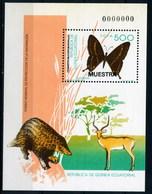 "GUINEA. HOJITA BLOQUE CON 1 CON SOBRECARGA ""MUESTRA"" - Mariposas"