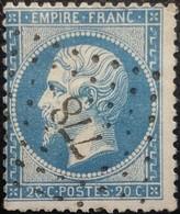 FRANCE Y&T N°22 Napoléon 20c Bleu. Oblitéré Losange PC N°778 Châteaubourg - 1862 Napoleon III