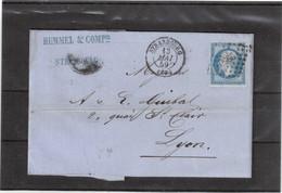 E48 -  - FRANCE N° 14 - Lettre De STRASBOURG (PC 2950) Du 13.MAI 1859 Pour LYON - - 1853-1860 Napoleon III