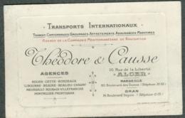 Carte Visite Transports Internationnaux Théodore Causse Alger Marseille Oran - Cartes De Visite