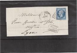 E48 - FRANCE N° 14 - Lettre De AVIGNON ( PC 209 ) Du 8 JANV 1859 Pour LYON -  APRES LE DEPART - - 1853-1860 Napoléon III