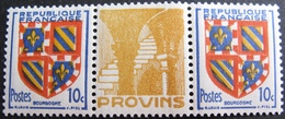 R1949/134 - 1949 - BLASON DE LA BOURGOGNE - N°834a TIMBRES NEUFS** Avec BORD PUBLICITAIRE De PROVINS - Cote : 70,00 € - Publicidad