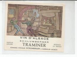 Belle Etiquette De Vin D'Alsace Ancienne Traminer Domaines Schlumberger Guebwiller - White Wines