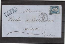 E28 - FRANCE N° 14 - Lettre De St-ETIENNE ( PC 3053 ) Du 23 NOV 1860 Pour NIORT - - 1853-1860 Napoléon III