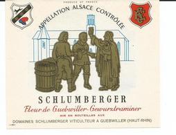 Belle Etiquette De Vin D'Alsace  Guewurztraminer Domaines Schlumberger Guebwiller Illus.J.P.Koenig - White Wines