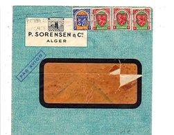 ALGERIE AFFRANCHISSEMENT COMPOSE SUR LETTRE A EN TETE DE ALGER POUR LA FRANCE 1948 - Algérie (1924-1962)