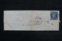 FRANCE - Lettre De Nantes Pour Chalabre En 1850 , Affranchissement Cérès 25c Bleu - L 24389 - 1849-1876: Période Classique