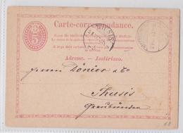 ENTIER POSTAL SUISSE WADENSCHWEIL 21.11.1873 POUR THUSIS CHUR - Entiers Postaux