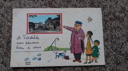 CPSM A VERDILLE NOUS PENSONS BIEN A VOUS DESSIN CLAUDE VERRIER FAMILLE - France