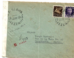 FAF084 / FEZZAN Ocupation Franciase, Yvert 18 Et Poste Aerienne 3 Sassone II + Poste Aerea 3, 18.6.1943, Sebha-Cassablan - Tripolitania