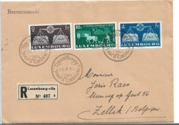 Lux171 / Luxemburg, Vereintes Europa 1951, Einschreiben Vom Ersttag Nach Zellik, Belgien Versandt - Briefe U. Dokumente