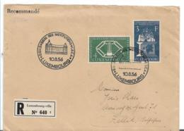 Lux172 / Luxemburg, Montana Union, Einschreiben Vom Ersttag 10.8.56 Nach Zellik, Belgien - Briefe U. Dokumente
