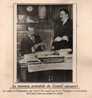 NOUVEAU PRESIDENT DU CONSEIL ESPAGNOL COMTE ROMANONES PHOTO PRESSE FICHE ???? VERS 1910 ?? - Célébrités