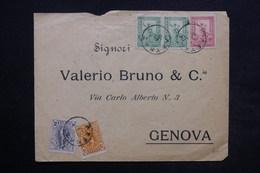 GRECE - Enveloppe Pour Genova En 1898 , Affranchissement Plaisant Quadricolore - L 24399 - 1886-1901 Small Hermes Heads