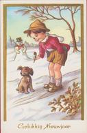 Sneeuwman Bonhomme De Neige Snowman Winterpret Schneemann Muñeco De Nieve Pupazzo Di Neve Pijp Hond Chien Dog - Kinder