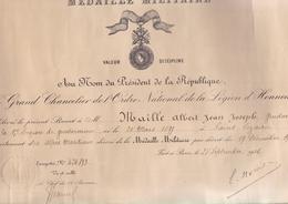 BREVET DE MEDAILLE MILITAIRE / GRAND CHANCELIER LEGION D HONNEUR / GENDARME 15 E LEGION DE  GENDARMERIE / SAINT CEZAIRE - France