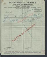 VIET NAM FACTURE POINSARD COMPTOIRS GÉNÉRAUX DE L INDOCHINE SAIGON : - Factures & Documents Commerciaux