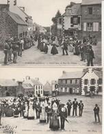 Lot De 2 CPA.Scrignac-Une Noce Et Une Danse Place Du Bourg Et Rue Du Village. - Other Municipalities