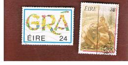 IRLANDA (IRELAND) -  SG 712.713    -    1989  GREETINGS STAMPS (COMPLET SET OF 2)     USED - 1949-... Repubblica D'Irlanda