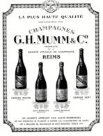 """PUB  CHAMPAGNE  """" G . H .MUMM & C° """"  1921  ( 1 ) - Champagne & Mousseux"""