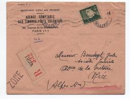 1942 - ENVELOPPE RECOMMANDE De VICHY / ZONE LIBRE Pour NICE - PETAIN - WW II