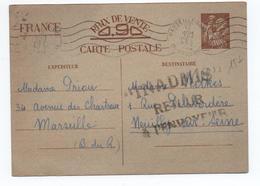 1940 - CARTE POSTALE ENTIER IRIS De MARSEILLE Pour NEUILLY -> INADMIS / RETOUR A L'ENVOYEUR - Poststempel (Briefe)