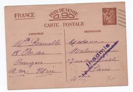 1940 - CARTE POSTALE ENTIER IRIS De NICE Pour PARIS -> INADMIS / LIBELLE NON REGLEMENTAIRE - WW II