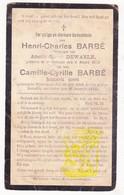 DP Vdr & Zn. - Henri Ch. & Camille Barbé / DeWaele ° Wijtschate Heuvelland † 1924 - Images Religieuses